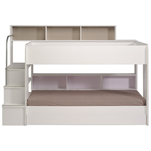 90x200 Kinder Etagenbett Weiß/grau mit Bettkasten Treppe und Geländer - 2