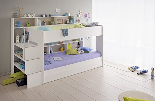 90x200 kinder etagenbett wei grau mit bettkasten treppe und gel nder 3. Black Bedroom Furniture Sets. Home Design Ideas