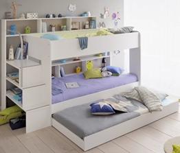 90x200 Kinder Etagenbett Weiß/grau mit Bettkasten Treppe und Geländer - 1