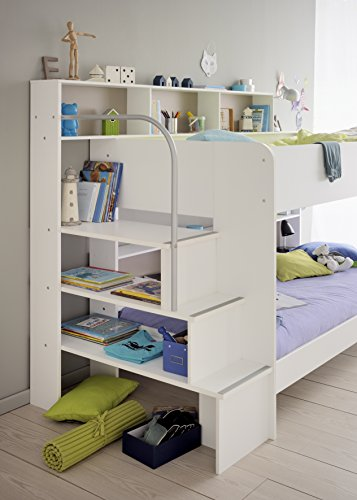 90x200 Kinder Etagenbett Weiß/grau mit Bettkasten Treppe und Geländer - 4