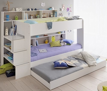 90x200 kinder etagenbett wei grau mit bettkasten treppe und gel nder. Black Bedroom Furniture Sets. Home Design Ideas