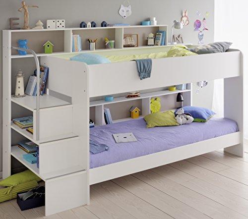 90x200 Kinder Etagenbett Weiß/grau mit Bettkasten Treppe und Geländer - 5