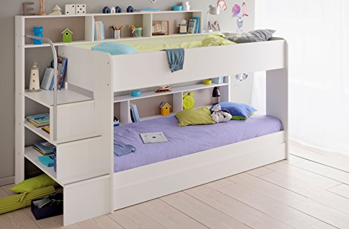 90x200 kinder etagenbett wei grau mit bettkasten treppe und gel nder 6. Black Bedroom Furniture Sets. Home Design Ideas