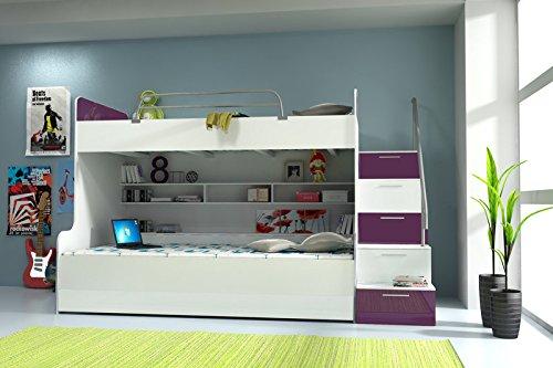 Doppelstockbett Bett Doppelbett Hochbett Jugendbett Betten Stockbett Etagenbett Hochglanz B003 - 2