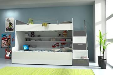 Doppelstockbett Bett Doppelbett Hochbett Jugendbett Betten Stockbett Etagenbett Hochglanz B003 - 3