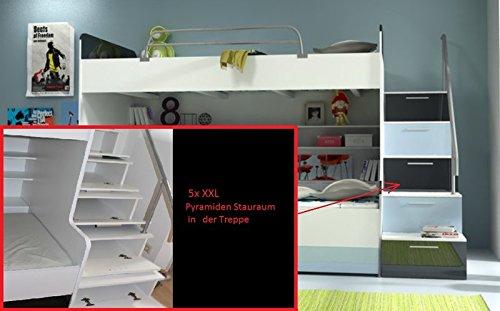Doppelstockbett Bett Doppelbett Hochbett Jugendbett Betten Stockbett Etagenbett Hochglanz B003 - 8