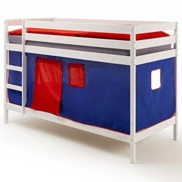 Etagenbett Hochbett Stockbett Doppelstockbett FELIX, Kiefer massiv weiß lackiert, inkl. Vorhang blau/rot - 2