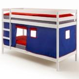 Etagenbett Hochbett Stockbett Doppelstockbett FELIX, Kiefer massiv weiß lackiert, inkl. Vorhang blau/rot - 1