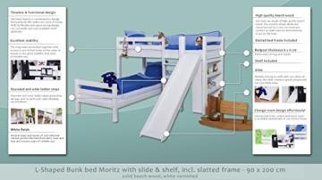 Etagenbett / Spielbett Moritz L Buche Vollholz massiv weiß lackiert mit Regal und Rutsche, inkl. Rollrost - 90 x 200 cm - 2