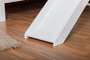 Etagenbett / Spielbett Moritz L Buche Vollholz massiv weiß lackiert mit Regal und Rutsche, inkl. Rollrost - 90 x 200 cm - 3