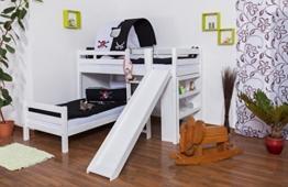 Etagenbett / Spielbett Moritz L Buche Vollholz massiv weiß lackiert mit Regal und Rutsche, inkl. Rollrost - 90 x 200 cm - 1
