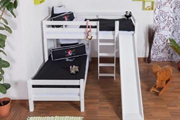 Etagenbett / Spielbett Moritz L Buche Vollholz massiv weiß lackiert mit Regal und Rutsche, inkl. Rollrost - 90 x 200 cm - 4