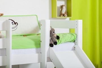 Etagenbett / Spielbett Moritz L Buche Vollholz massiv weiß lackiert mit Regal und Rutsche, inkl. Rollrost - 90 x 200 cm - 5