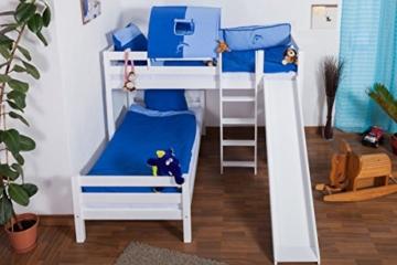 Etagenbett / Spielbett Moritz L Buche Vollholz massiv weiß lackiert mit Regal und Rutsche, inkl. Rollrost - 90 x 200 cm - 6