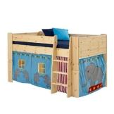 Halbhochbett mit Vorhang im Zirkus Design Kiefer Massivholz (2-teilig) Pharao24 - 1