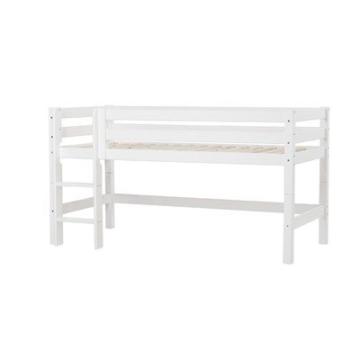 Halbhochbett XXL mit gerader Leiter Farbe: Weiß, Liegefläche: 90 x 200 cm, Lattenrost: Flexibler Einlegelattenrost - 1