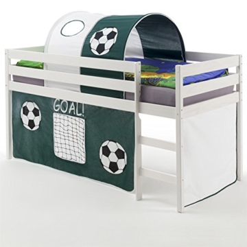 Hochbett Abenteuerbett Spielbett ERIK, mit Vorhang und Tunnel Fußball, Kiefer massiv in weiß lackiert, 90 x 200 cm - 1