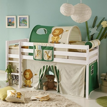 Hochbett Kiefer massiv weiß EN 747-1 + 747-2 Kinderbett Spielbett Jugendbett Massivbett Kinderzimmer Jugendzimmer 1654 - 1