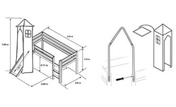 Hochbett Kinderbett Spielbett mit Turm und Rutsche Massiv Kiefer Weiß - Pirat Schwarz/Weiß - SHB/03/1032 - 2