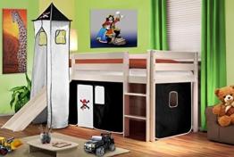 Hochbett Kinderbett Spielbett mit Turm und Rutsche Massiv Kiefer Weiß - Pirat Schwarz/Weiß - SHB/03/1032 - 1