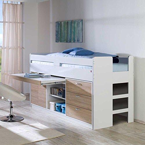hochbett mit stauraum wei eiche sonoma pharao24 2. Black Bedroom Furniture Sets. Home Design Ideas