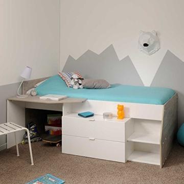 Hochbett mit Treppe und Schreibtisch Weiß Pharao24 - 2