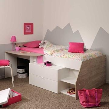 Hochbett mit Treppe und Schreibtisch Weiß Pharao24 - 1