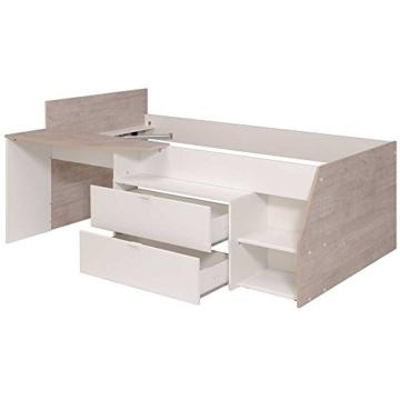 Hochbett mit Treppe und Schreibtisch Weiß Pharao24 - 5