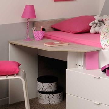 Hochbett mit Treppe und Schreibtisch Weiß Pharao24 - 7