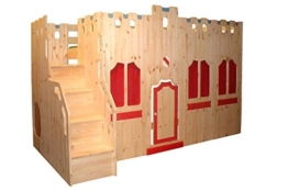 Hochbett Schloss Bett mit Treppe und Fassade GS zertifziert, Kiefer Massivholz aus nachhaltiger Forstwirtschaft, inkl. Rost - 1