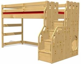 Hochbett Schlossbett mit Treppe+Rost, GS zertifziert, Kiefer Massivholz aus nachhaltiger Forstwirtschaft - 1