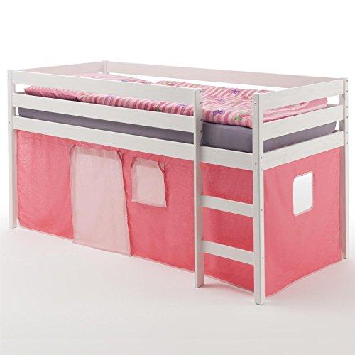 Hochbett Spielbett Bett ERIK, Kiefer massiv, weiss lackiert mit Vorhang in pink/rosa - 1
