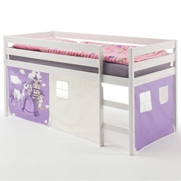 Hochbett Spielbett ERIK, Kiefer massiv, weiß lackiert mit Vorhang Prinzessinmotiv - 1