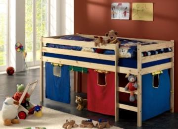 Hochbett Spielbett ERIK natur mit Vorhang & Rollrost - 2