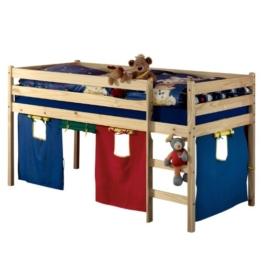 Hochbett Spielbett ERIK natur mit Vorhang & Rollrost - 1
