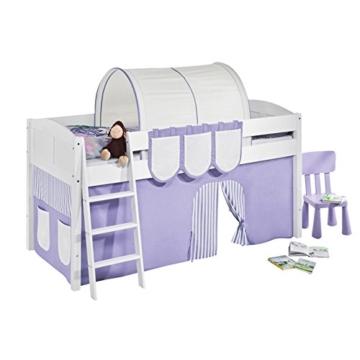 Hochbett Spielbett IDA Lila Beige, mit Vorhang, weiß, Variante 3 - 2