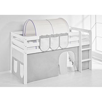 Hochbett Spielbett IDA Lila Beige, mit Vorhang, weiß, Variante 3 - 3