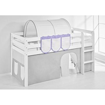 Hochbett Spielbett IDA Lila Beige, mit Vorhang, weiß, Variante 3 - 4
