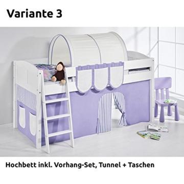 Hochbett Spielbett IDA Lila Beige, mit Vorhang, weiß, Variante 3 - 1