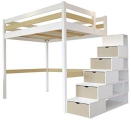 Hochbett Sylvia 120x 200+ Treppe Cube 2Sitzer Holz weiß Moka - 1