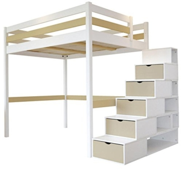 hochbett sylvia 120 x 200 treppe cube 2 sitzer holz wei. Black Bedroom Furniture Sets. Home Design Ideas