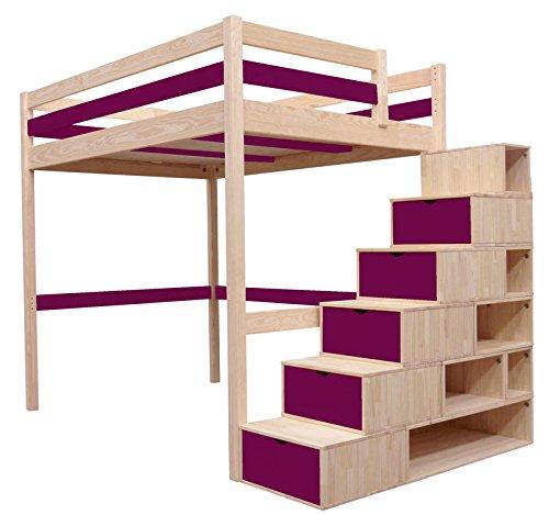 Hochbett Sylvia 90x 200+ Treppe Cube Kinder Holz natur lackiert Pflaume - 1