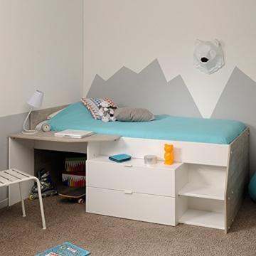 Hochbett weiß / grau inklusive Schreibtisch + Kommode + Ablagefach Spielbett Kinderbett Jugendzimmer Kinderzimmer - 2