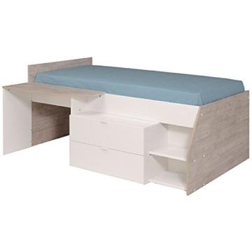 Hochbett weiß / grau inklusive Schreibtisch + Kommode + Ablagefach Spielbett Kinderbett Jugendzimmer Kinderzimmer - 3