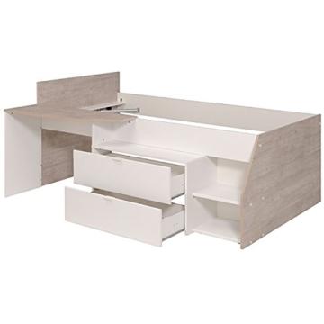 Hochbett weiß / grau inklusive Schreibtisch + Kommode + Ablagefach Spielbett Kinderbett Jugendzimmer Kinderzimmer - 4