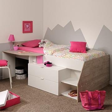 Hochbett weiß / grau inklusive Schreibtisch + Kommode + Ablagefach Spielbett Kinderbett Jugendzimmer Kinderzimmer - 1