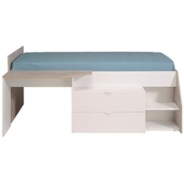 Hochbett weiß / grau inklusive Schreibtisch + Kommode + Ablagefach Spielbett Kinderbett Jugendzimmer Kinderzimmer - 5