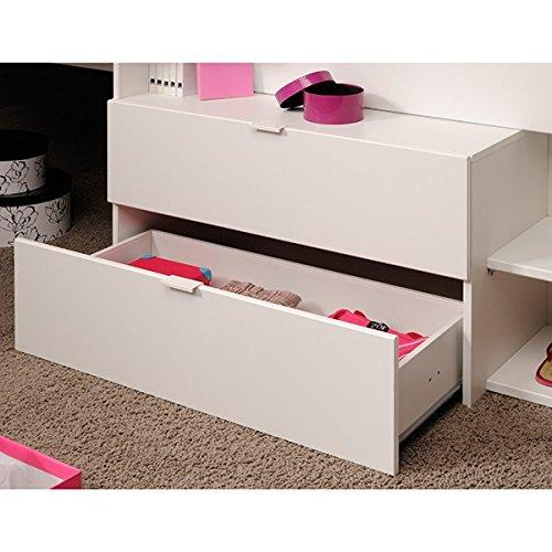 Hochbett weiß / grau inklusive Schreibtisch + Kommode + Ablagefach Spielbett Kinderbett Jugendzimmer Kinderzimmer - 6