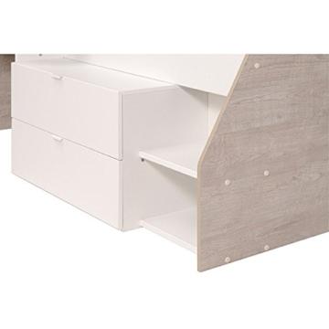 Hochbett weiß / grau inklusive Schreibtisch + Kommode + Ablagefach Spielbett Kinderbett Jugendzimmer Kinderzimmer - 7