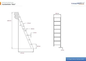 Intercon Hochbettleiter Maxi mit 7 Stufen in 160 cm Höhe, 3 Varianten wählbar - 2